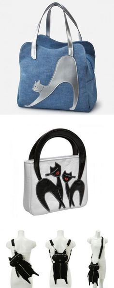 Marvelous Make a Hobo Bag Ideas. All Time Favorite Make a Hobo Bag Ideas. Cat Purse, Cat Bag, Denim Handbags, Denim Crafts, Patchwork Bags, Purse Patterns, Knitting Patterns, Denim Bag, Fabric Bags