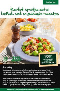 Recept voor roerbak spruitjes met ui, knoflook, spek en gedroogde tomaatjes #Lidl