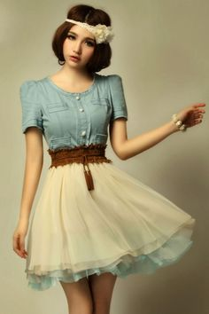 Vintage Denim Dress With Contrast Mesh Skirt OASAP.com