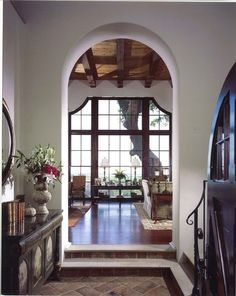 Arches. Arches are found throughout the house, from archways, to doors and windows, and alcoves and niches