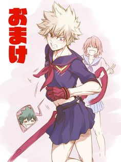 Boku no Hero Academia x Kill la Kill || Cross-Over [ Midoriya Izuku, Katsuki Bakugou, Kirishima Eijirou. ]