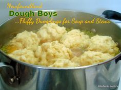 Fluffy Dumplings for Soup or Stew Newfoundland Dough Boys. Fluffy Dumplings for Soup or Stew Fluffy Dumpling Recipe, Homemade Dumplings, Dumplings Recipe Easy, Bread Dumplings Recipes, Bread Recipes, Recipe Stew, Casserole Recipes, Drop Dumplings, Dumplings For Soup