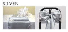 Perfectmaze Satin Party Combo Kit (5 Table Runner / 25 Chair Sash Bow) for Wedding Party Event Decoration_Silver