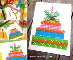 ¨°o.O Carte d'Anniversaire Gâteau / Birthday card O.o°¨  www.creamalice.com