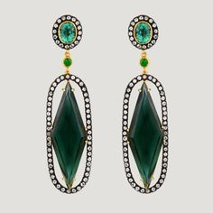 Elongated Diamond Shape Vermeil Drop Earrings With Green Quartz, Green Garnet & White Topaz (76.3 K)  £598 (81611)