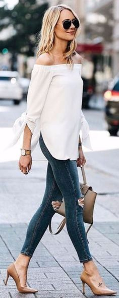 white off the shoulder sweater outfit. Jeans and heels outfit