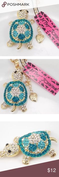 "Betsy Johnson Crystal Turtle Necklace CLOSE OUT SALE!! This beautiful light blue and blue green crystal turtle necklace on a 28""gold plated chain is such a cute necklace!! His little feet, head and tail move!! How adorable!! Betsey Johnson Jewelry Necklaces"