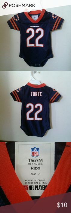 Infant football jerseys  Chicago  Bears Chicago Bears Forte button onesie  Size: 3-6 months Condition:used light wear but overall in good condition comes from a smoke free home One Pieces Bodysuits