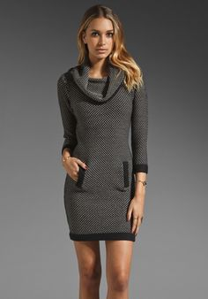 TRACY REESE Wide Awake Chunky Cowl Sweater Dress in Black at Revolve Clothing - Free Shipping!