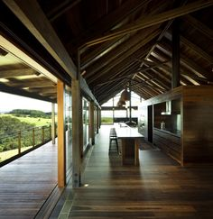 Interior/exterior overflow at the Jamberoo Farm House south of Sydney, Australia by Casey Brown Architecture