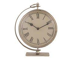 Orologio da tavolo in ferro beige, 18x23x6 cm