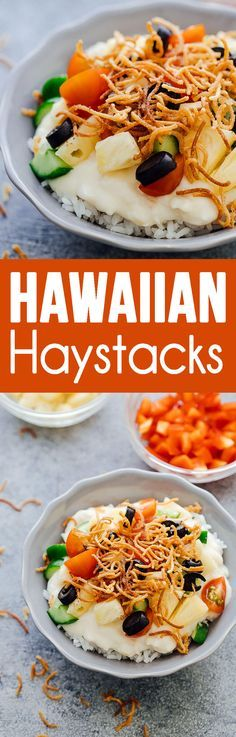 Hawaiian Haystacks are made up of creamy chicken and topped with lots of fun toppings. #hawaiianhaystacks #hotdinner #dinner #chickendinner #chicken