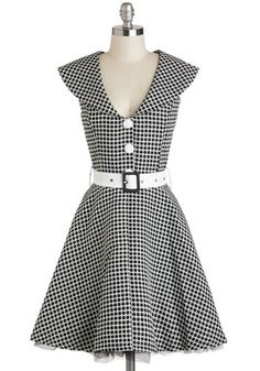 Dine and Dandy Dress - Black, White, Checkered / Gingham, Buttons, Belted, Party, Fit & Flare, Cap Sleeves, V Neck, Rockabilly, Vintage Inspired