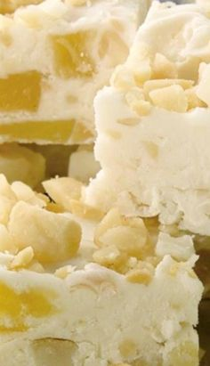 Piña Colada Fudge ~ packed with dried pineapple, coconut, rum and macadamia nuts.
