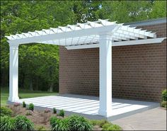 12 X 16 Wall Mount Single Beam Fiberglass Pergola Shown.