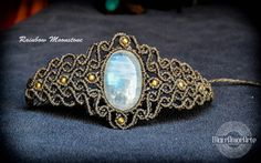 NEW Rainbow Moonstone macramé bracelet.White by MacrAmorArt
