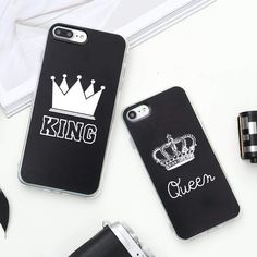 Wallmart.win Valentine KING Queen Case for iPhone 6 Case for iPhone 5s 5 Cover Clear Silicone TPU Soft Phone Case for iPhone 8 7 6s Plus…