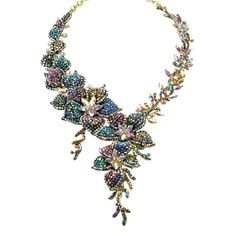 2f263628c Multicolor AB crystal flower necklace in gold metal. City Fashion Guide