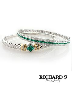 Diamond and emerald bangle bracelet in 18K white gold and diamond and emerald twist bangle bracelet in 14K white and yellow gold.