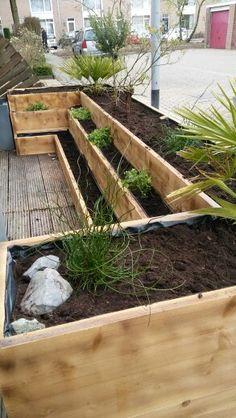 Steigerhout plantenbak etage