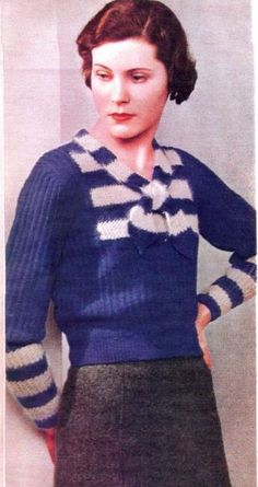 Annonce la couleur 30s d'impression photo style de mode vintage bleu et blanc pull en tricot de laine grise jupe