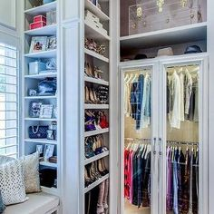 Walk In Closet with Window Seat and Shoe Shelves