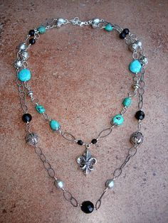 Regal turquoise and pearl double strand necklace by Purrrls