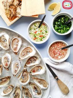 Oysters and three sauces Fish Dishes, Seafood Dishes, Fish And Seafood, Fish Recipes, Seafood Recipes, Asian Recipes, Raw Oysters, Fresh Oysters, Oyster Recipes