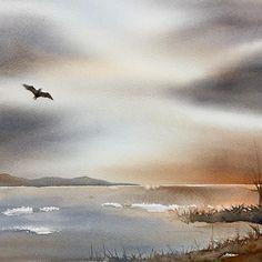 Bird #akvarell #aquarelle #cartel_watercolorists #watercolor #watercolour #акварель #top_watercolor #timetoart #waterblog #inspiring_watercolors #aquarellegallery #bird #sky_perfection #ocean #lake #konst #akvarellmuseet #örebro