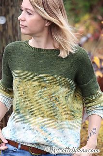 Andrea Yetman charms us once again with her beautiful design! Here is her latest sweater pattern, Twist of Fade, created especially for Biscotte Yarns! Sweater Knitting Patterns, Knitting Stitches, Free Knitting, Knitting Sweaters, Summer Knitting, Knit Crochet, Free Crochet, Cardigan Pattern, Pulls