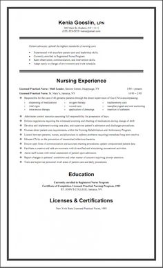 sample lpn resume one page. Resume Example. Resume CV Cover Letter