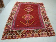 persian kilim with pink gems