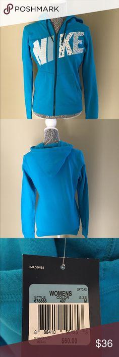 NWT Nike Zip Front Hooded Sweat Shirt NWT Nike ZIp Front Hooded Sweat Shirt.  Sky blue with white and blue writing.  Size Medium  $34.00 Nike Tops Sweatshirts & Hoodies