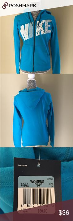 NWT Nike Zip Front Hooded Sweat Shirt NWT Nike ZIp Front Hooded Sweat Shirt.  Sky blue with white and blue writing.  Size Medium  $36.00 Nike Tops Sweatshirts & Hoodies