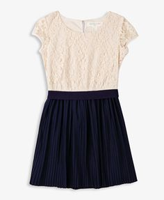 Pleated Lace Combo Dress. They have it in Cream/Navy and Cream/Pink. Its super cute! love it <3