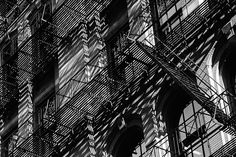 Photograph Shadows New York People | Soho New York Fire Escape Photo - Black and White Photography