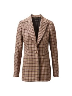 Houndstooth jacket. Featuring a slim fit, pointed lapels, single-button fastening, two side welt pockets, long sleeves, one back vent and lining. The back length for size 38 is 71.2cm. Houndstooth Jacket, One Back, Welt Pocket, Buttons, Slim, Lapels, Blazer, Long Sleeve, Countryside