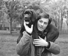 Alain Delon and a different dog