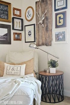 7. Start hanging your gallery pieces in a corner so that you can add your collection.