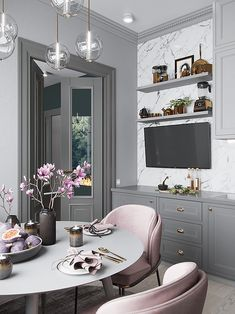 Interior Design For Living Room Info: 8354692066 Dining Room Design, Dining Room Chairs, Interior Design Kitchen, Interior Modern, Interior Architecture, Gold Kitchen, Kitchen Decor, Decorating Kitchen, Interior Decorating