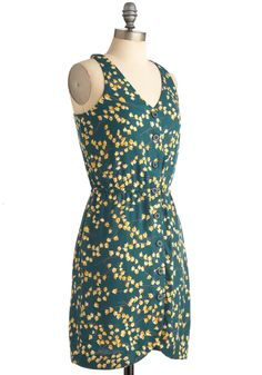 First Blossoms Dress. Capture the magic of the seasons delicate first blossoms with this floral frock from Many Belles Down! #green #modcloth