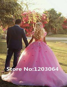 2016 Elegant Ball Gown Wedding Dresses Pink Tulle With 3D Flower Vestidos De Novia Court Train on http://ali.pub/f56to