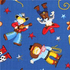 dark blue cowboy fabric Timeless Treasures USA
