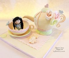 Sweet Little Girl & Teapot Birthday Cake