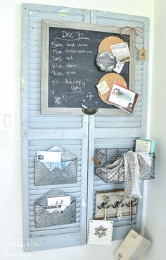 15 Creative DIY Shutter Projects : Fifteen favorite creative DIY shutter projects made from repurposed old wood shutters. Packed with useful ideas for old window shutters for home decor. Old Window Shutters, Rustic Shutters, Wood Shutters, Repurposed Shutters, Farmhouse Shutters, Window Frames, Repurposed Furniture, Farmhouse Office, Old Shutters Decor