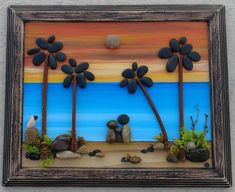 Unique Decoration With Pebble Art Crafts 23 Stone Crafts, Rock Crafts, Arts And Crafts, Art Crafts, Pebble Art Family, Pebble Pictures, Clear Glass Vases, Pet Rocks, Paint Background