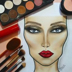 #draw #drawing #croquimakeup #croqui #facechart #makeup #make #maquiagem #fashion #love #redlips #red
