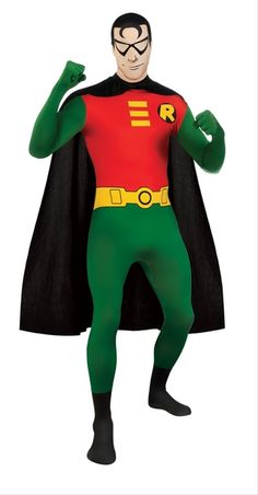 """Robin the Boy Wonder 2nd Skin Suit - This 2nd skin suit is a unique twist for an officially licensed Robin from DC Comics Batman superhero costume. This lycra spandex one piece suit is all you need. This Robin Boy Wonder costume has sublimated print and features like a yellow utility belt and a Robin """"R"""" printed on the right chest. The suit is a full body suit with attached boot tops and gloves. The Robin costume zips up the back and has a high collar. #batman #yyc #superheroes #costume"""