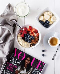 """Granola, Coffee, Fruit and Vogue. Breaky's served. Starting my Wednesday with a Bowl of delicious #MyMuesli Blueberry Vanilla Granola with Greek Yoghurt,…"""