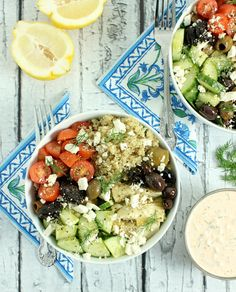 Loaded Greek Style Quinoa Bowls w/ Chunky Feta & Spicy Tzatziki - a light & lean dish perfect for spring, this protein-packed meal is ready in just 20 minutes :)